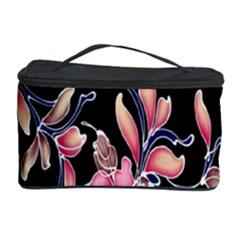 Neon Flowers Black Background Cosmetic Storage Case