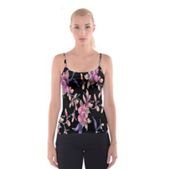 Neon Flowers Black Background Spaghetti Strap Top