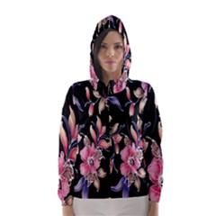 Neon Flowers Black Background Hooded Wind Breaker (Women)