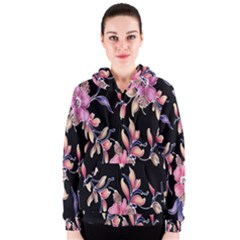 Neon Flowers Black Background Women s Zipper Hoodie