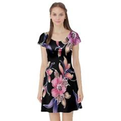 Neon Flowers Black Background Short Sleeve Skater Dress