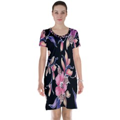 Neon Flowers Black Background Short Sleeve Nightdress
