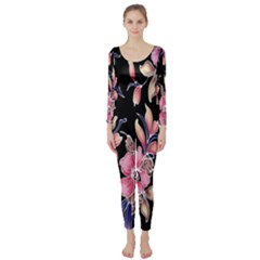 Neon Flowers Black Background Long Sleeve Catsuit