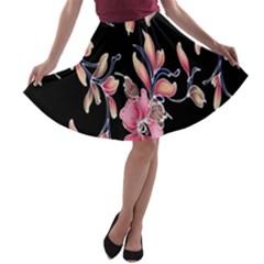 Neon Flowers Black Background A-line Skater Skirt