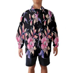 Neon Flowers Black Background Wind Breaker (kids)