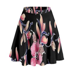 Neon Flowers Black Background High Waist Skirt