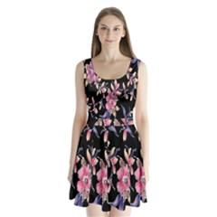 Neon Flowers Black Background Split Back Mini Dress
