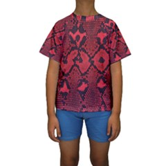 Leather Point Surface Kids  Short Sleeve Swimwear
