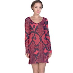 Leather Point Surface Long Sleeve Nightdress