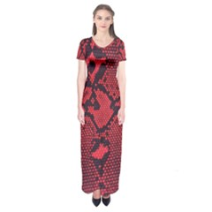 Leather Point Surface Short Sleeve Maxi Dress