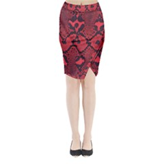 Leather Point Surface Midi Wrap Pencil Skirt