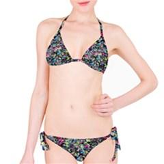 Neon Floral Print Silver Spandex Bikini Set