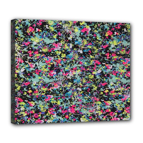 Neon Floral Print Silver Spandex Deluxe Canvas 24  x 20