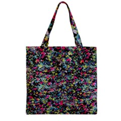 Neon Floral Print Silver Spandex Grocery Tote Bag