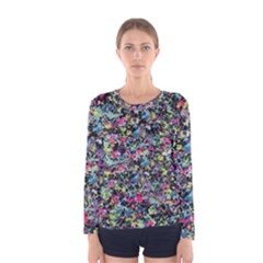 Neon Floral Print Silver Spandex Women s Long Sleeve Tee