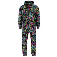 Neon Floral Print Silver Spandex Hooded Jumpsuit (men)