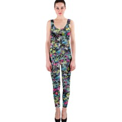 Neon Floral Print Silver Spandex Onepiece Catsuit