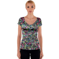 Neon Floral Print Silver Spandex Women s V-Neck Cap Sleeve Top