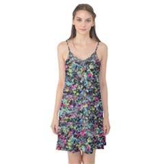 Neon Floral Print Silver Spandex Camis Nightgown