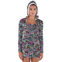 Neon Floral Print Silver Spandex Women s Long Sleeve Hooded T Shirt
