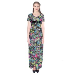 Neon Floral Print Silver Spandex Short Sleeve Maxi Dress