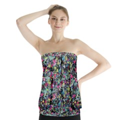 Neon Floral Print Silver Spandex Strapless Top