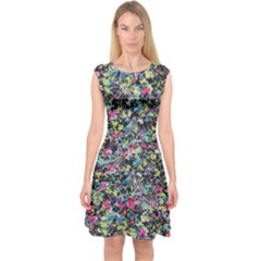 Neon Floral Print Silver Spandex Capsleeve Midi Dress