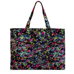 Neon Floral Print Silver Spandex Medium Zipper Tote Bag