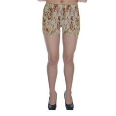 Patterns Flowers Petals Shape Background Skinny Shorts