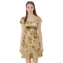 Patterns Flowers Petals Shape Background Short Sleeve Skater Dress