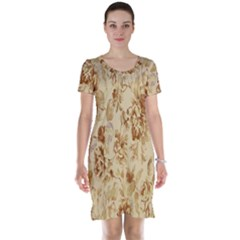 Patterns Flowers Petals Shape Background Short Sleeve Nightdress