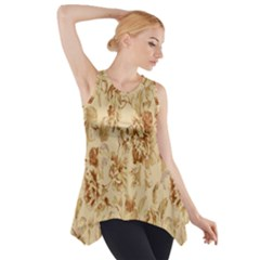 Patterns Flowers Petals Shape Background Side Drop Tank Tunic
