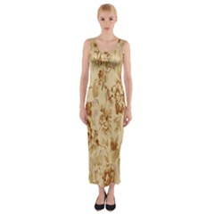 Patterns Flowers Petals Shape Background Fitted Maxi Dress