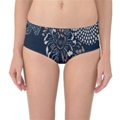 Patterns Dark Shape Surface Mid-Waist Bikini Bottoms