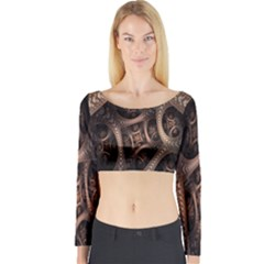 Patterns Dive Background Long Sleeve Crop Top