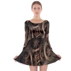 Patterns Dive Background Long Sleeve Skater Dress