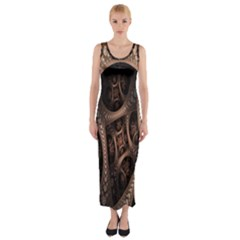 Patterns Dive Background Fitted Maxi Dress