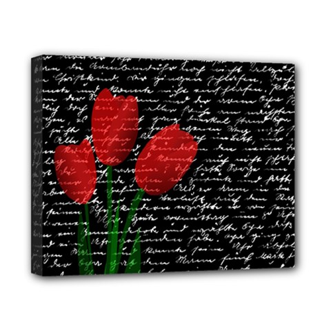 Red tulips Canvas 10  x 8