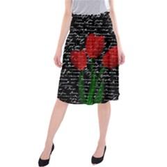 Red tulips Midi Beach Skirt