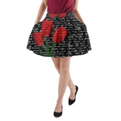 Red tulips A-Line Pocket Skirt