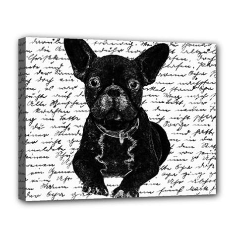 Cute bulldog Canvas 14  x 11