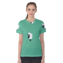 Sheep Trails Curly Minimalism Women s Cotton Tee