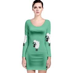 Sheep Trails Curly Minimalism Long Sleeve Bodycon Dress