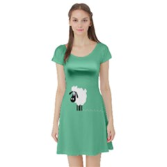 Sheep Trails Curly Minimalism Short Sleeve Skater Dress