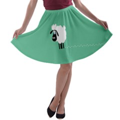 Sheep Trails Curly Minimalism A-line Skater Skirt