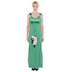Sheep Trails Curly Minimalism Maxi Thigh Split Dress