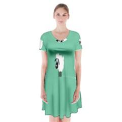 Sheep Trails Curly Minimalism Short Sleeve V Neck Flare Dress