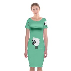 Sheep Trails Curly Minimalism Classic Short Sleeve Midi Dress