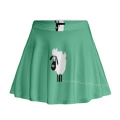 Sheep Trails Curly Minimalism Mini Flare Skirt