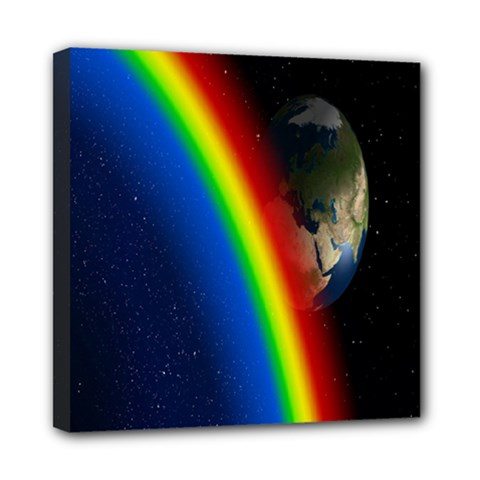 Rainbow Earth Outer Space Fantasy Carmen Image Mini Canvas 8  x 8